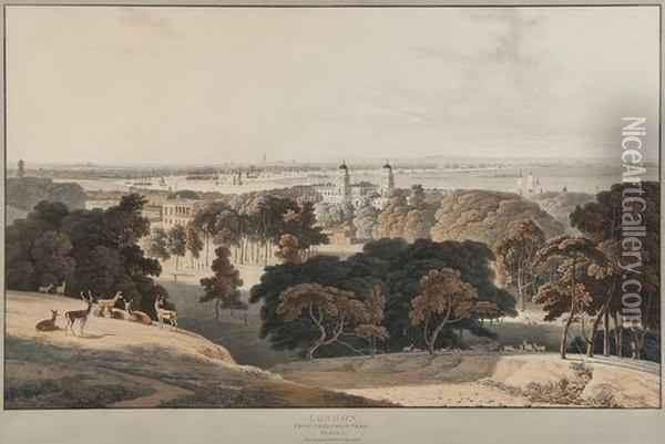 London, From Greenwich Park Oil Painting - William Daniell RA