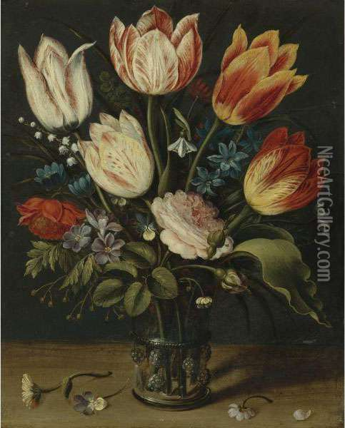 Still Life Of Tulips And Other Flowers In A Glass Vase Oil Painting - Andries Daniels