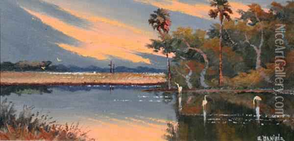 Sunset Backwater Scene With
