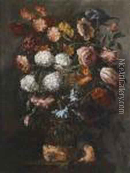 A Pair Of Still Lifes With Flowers Oil Painting - Juan De Arellano
