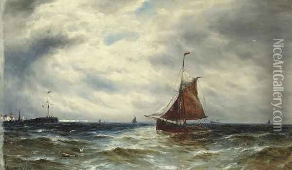 Fishing Boats In The Channel Off Newhaven Oil Painting - Gustave de Breanski