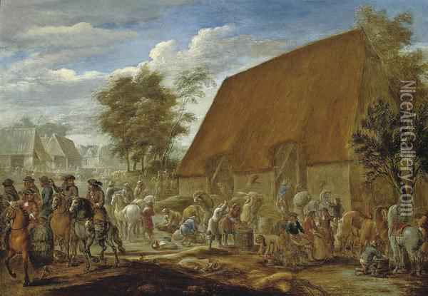 Farmers Threshing Corn Before A Thatched Barn Oil Painting - Lambert de Hondt