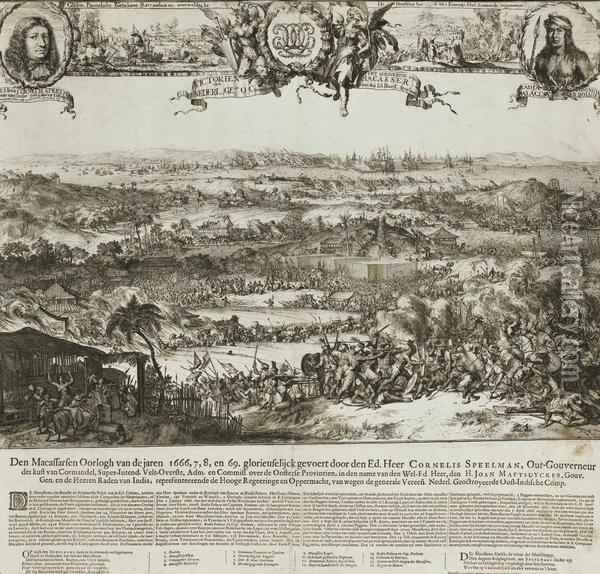 Victory Of Cornelis Speelman Over The Kingdom Of Macassar And Radjah Palacca Oil Painting - Romeyn de Hooghe