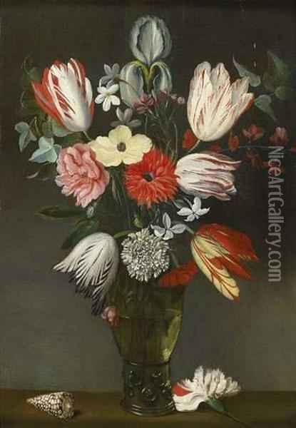 Bouquet De Fleurs Au Coquillage Oil Painting - Phillipe de Marlier