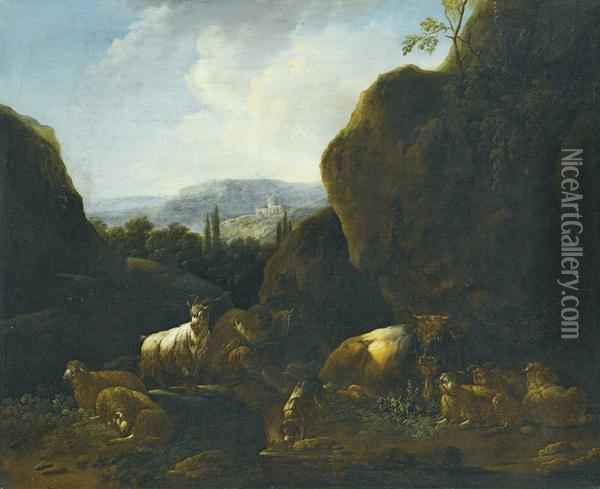 A Landscape With A Flock Of Sheep And Goats Oil Painting - Gaetano De Rosa