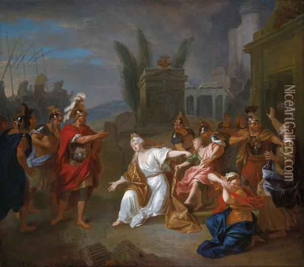 Odysseus Requesting From Andromache The Young Astyanax Oil Painting - Louis de Silvestre