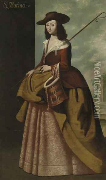 Saint Margaret Of Antioch Oil Painting - Francisco De Zurbaran