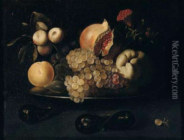 Still Life Of Grapes, Pomegranates, Apples, Peaches, Plums And Figs, On A Silver Dish, Together With Figs And A White Grape Arranged Upon A Table Top Oil Painting - Juan de Zurbaran