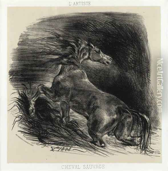 Cheval Sauvage Oil Painting - Eugene Delacroix