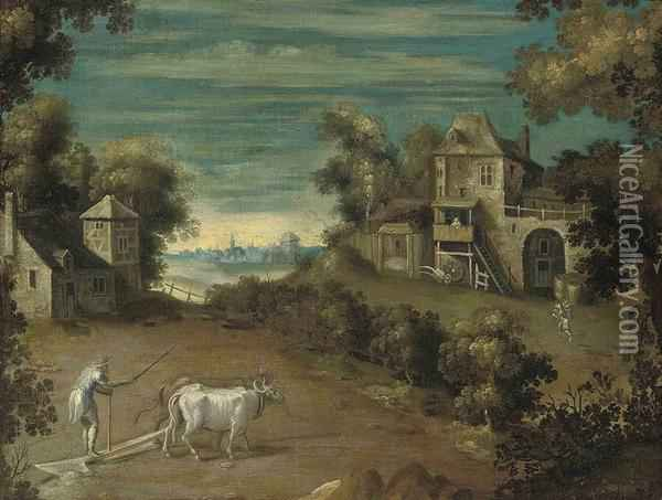 An Extensive Landscape With A Farmer And His Oxen Ploughing AField Oil Painting - Nicolo Dell' Abate