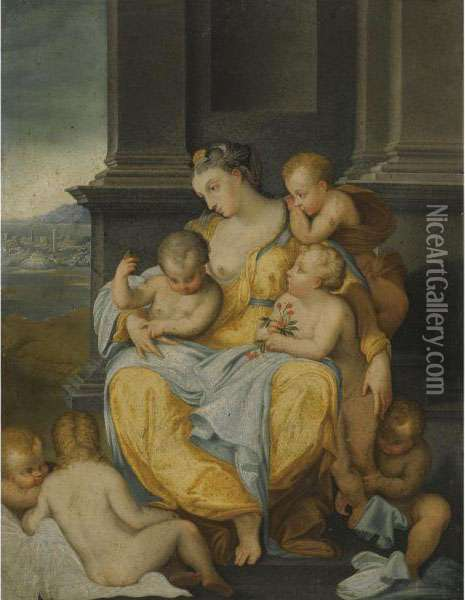 An Allegory Of Charity Oil Painting - Nicolo Dell' Abate