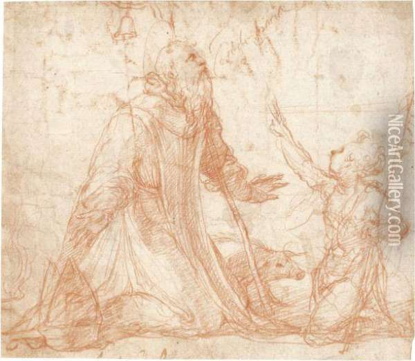 Saint Anthony Abbot Kneeling, The Young St John The Baptist Besidehim Oil Painting - Nicolo Dell' Abate