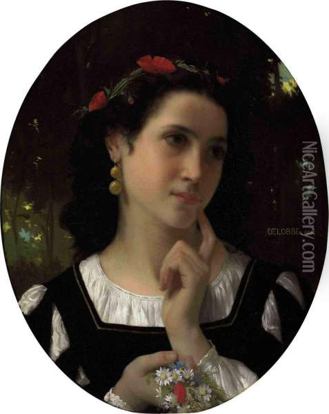 A Moment Of Reflection Oil Painting - Francois Alfred Delobbe