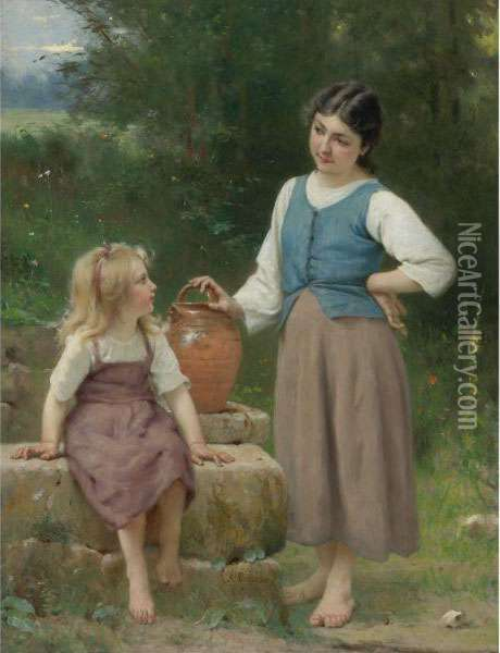 The Little Neighbor Oil Painting - Francois Alfred Delobbe