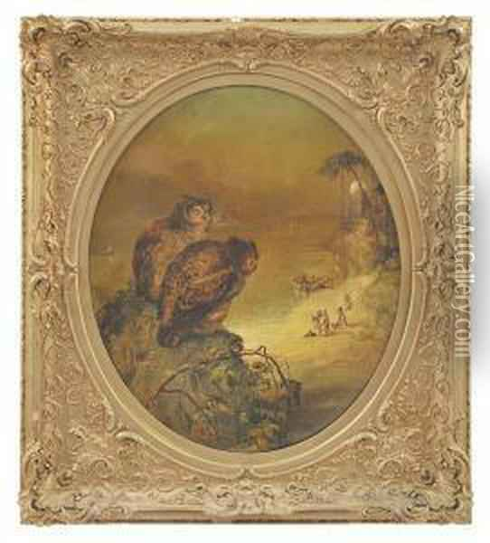 Story Of The Two Owls In Arabian Nights Oil Painting - William Dexter