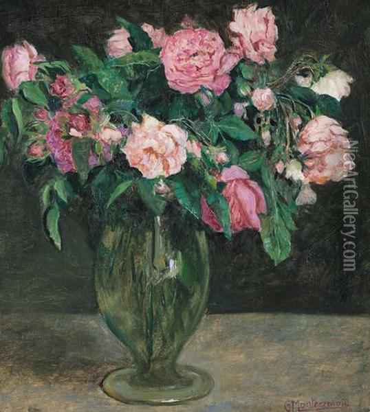 Rose In Vaso Oil Painting - Guido Di Montezemolo