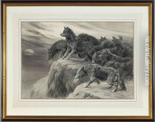 A Pack Of Wolves Howling At The Moon Oil Painting - Herbert Thomas Dicksee
