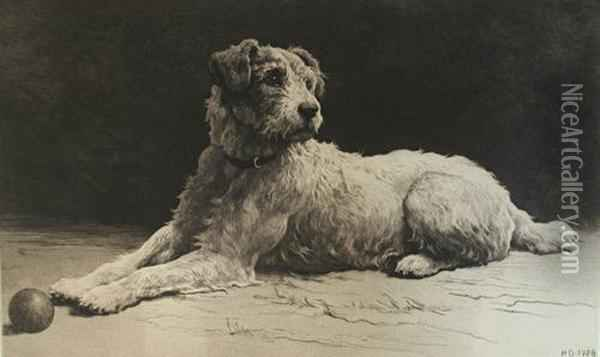 'ready' A Wire-haired Fox Terrier Oil Painting - Herbert Thomas Dicksee