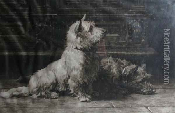 A West Highland And A Scottish Terrier Oil Painting - Herbert Thomas Dicksee