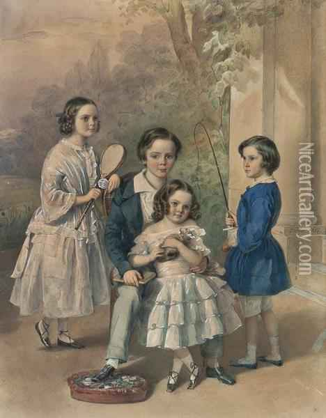 The Christie Children Oil Painting - Johann Friedrich Dietler