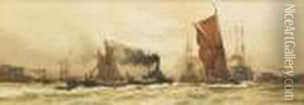 With Wind And Tide Oil Painting - Charles Edward Dixon