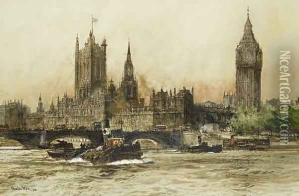 The Houses Of Parliament From The Thames Oil Painting - Charles Edward Dixon