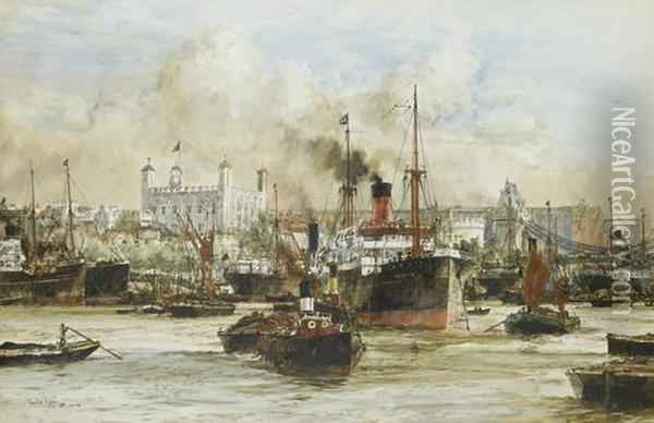 The Tower Of London From The Thames Oil Painting - Charles Edward Dixon