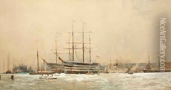 Shipping In A Busy Harbour, Possibly Portsmouth Oil Painting - Charles Edward Dixon