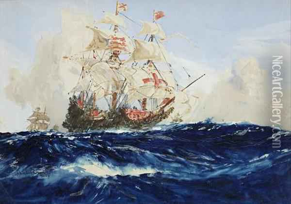 A Galleon In Full Sail Oil Painting - Charles Edward Dixon