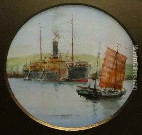 Steamer By A Harbour With Two Chinese Junks Oil Painting - Charles Edward Dixon
