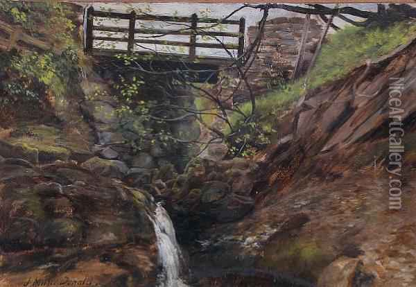 Bridge Over A Mountain Stream Oil Painting - John Milne Donald