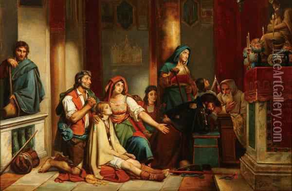 Pilgrims With An Invalid Child Before A Marian Altar Oil Painting - Ottto Donner Von Richter