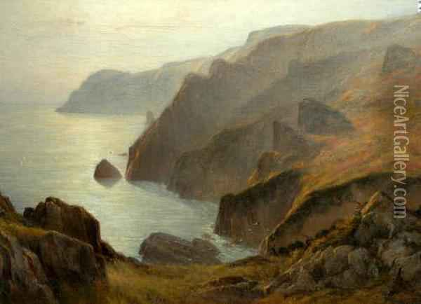 'headland On Jersey', Indistinctly Signed Oil On Canvas, 81x118cm Oil Painting - Charles F. Draper