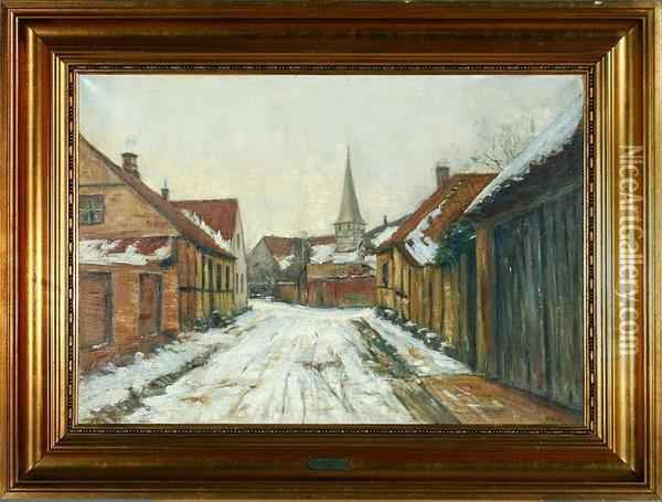 A Danish Street Scenery, Winter Oil Painting - Ole Wolhardt Stampe Due