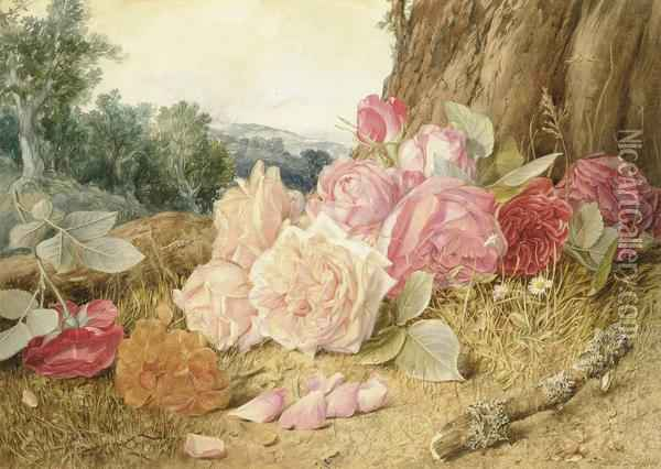 Still Life With Wild Pink Roses Oil Painting - Mary Elizabeth Duffield