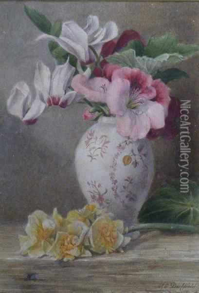 Cyclamen And Daffodils Oil Painting - Mary Elizabeth Duffield
