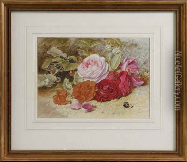 Roses & Berries Oil Painting - Mary Elizabeth Duffield