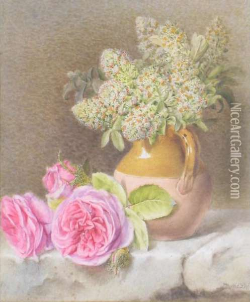 A Still Life Of Jug And Roses Oil Painting - Mary Elizabeth Duffield