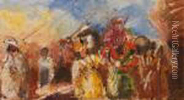 Depart Pour La Chasse Oil Painting - Charles Georges Dufresne