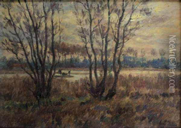 Paysage Arleux: Figures In A Punt On Marshes Oil Painting - Henri Aime Duhem