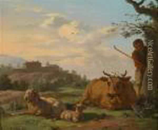 Campagna Landscape With Shepherd And Sheep Oil Painting - Karel Dujardin