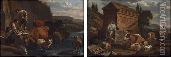 Country Folk And Livestock Along A River Oil Painting - Karel Dujardin