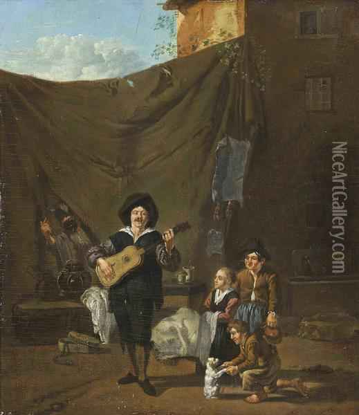 A Guitar Player With Children Looking On Oil Painting - Karel Dujardin