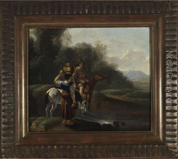 Early Morn (couple With Their Horses Gathering Water In A Landscape) Oil Painting - Karel Dujardin