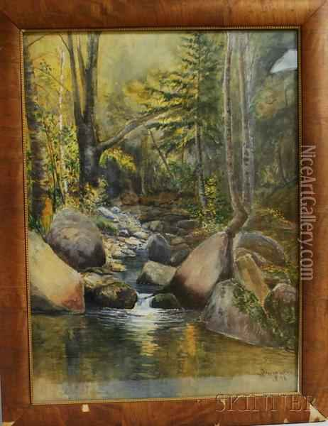 Woodland Brook Oil Painting - Joseph Owen Dummer