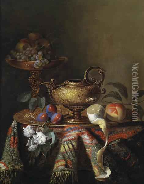 Still Life With Magnificent Silverware Oil Painting - Pierre Dupuis