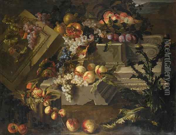 Peaches, Grapes, Plums And Pomegranates On Astone Plinth And A Carved Stone Tablet With Apples And Peaches In Alandscape Oil Painting - Pierre Dupuis
