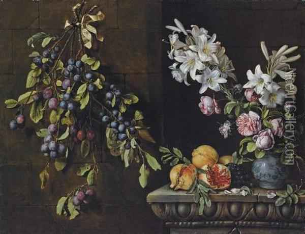 Branches Of Plums Tied With A Ribbon And Suspended From A Nail, With Lilies And Roses In A Blue And White Porcelain Vase, On A Sculpted Ledge With Pomegranates And Grapes Oil Painting - Pierre Dupuis