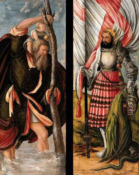 Drer, H. Wings Of An Altarpiece: Saint Christopher (recto) And Saintcatherine (verso); And Saint George (recto) And Saint Barbara(verso) Oil Painting - Hans Durer