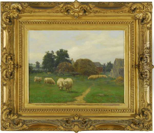 Farmyard Scene With Grazing Sheep Oil Painting - Silas Dustin